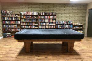 pool table book shelf